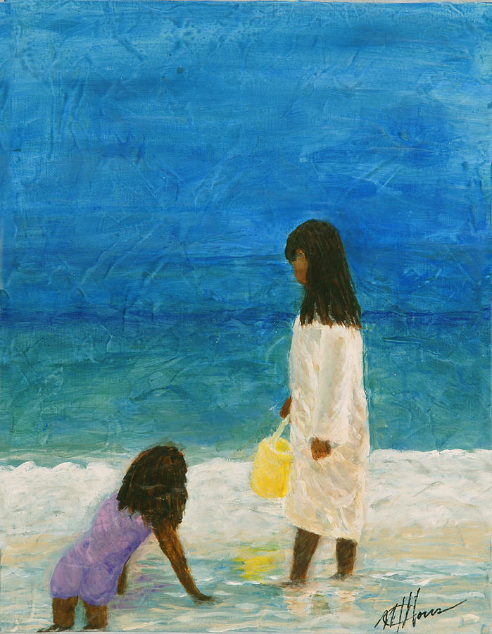 Beach Painting - Sisters by Maureen House