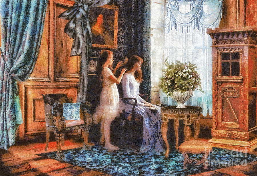 Sisters Painting - Sisters by Mo T