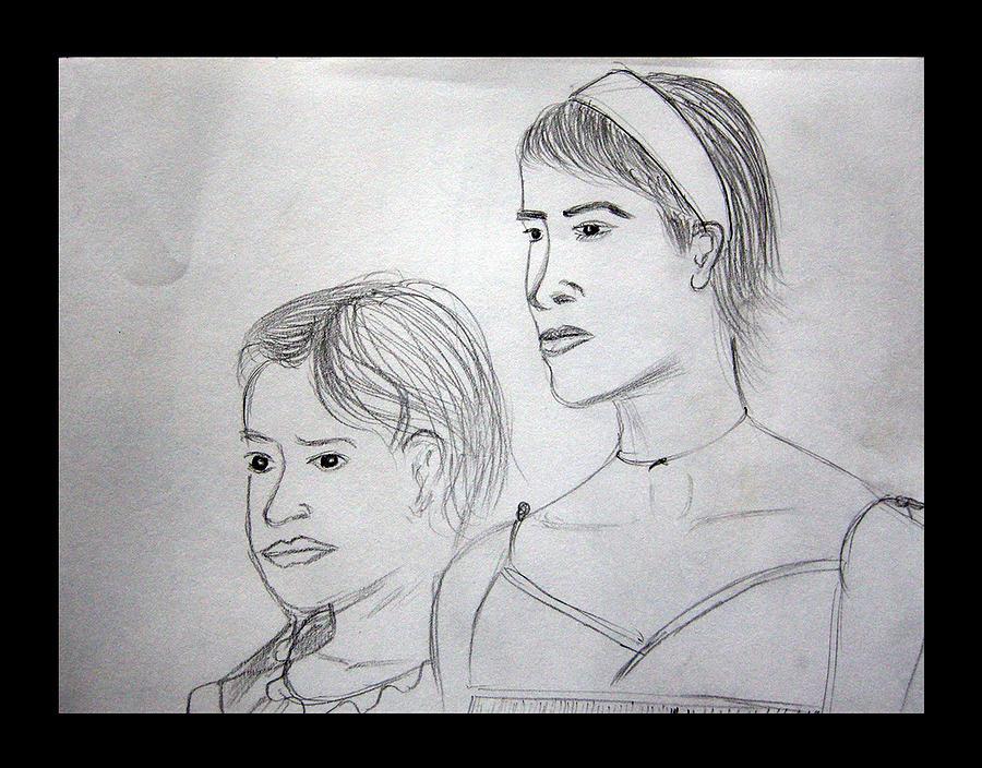 Drawing Drawing - Sisters by Suneel Jain