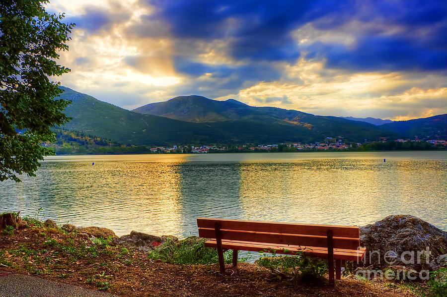 Boat Pyrography - Siting Near The Lake by Soultana Koleska