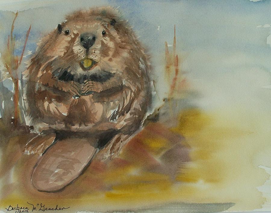Baby Beaver Painting - Sitting Beaver by Barbara McGeachen