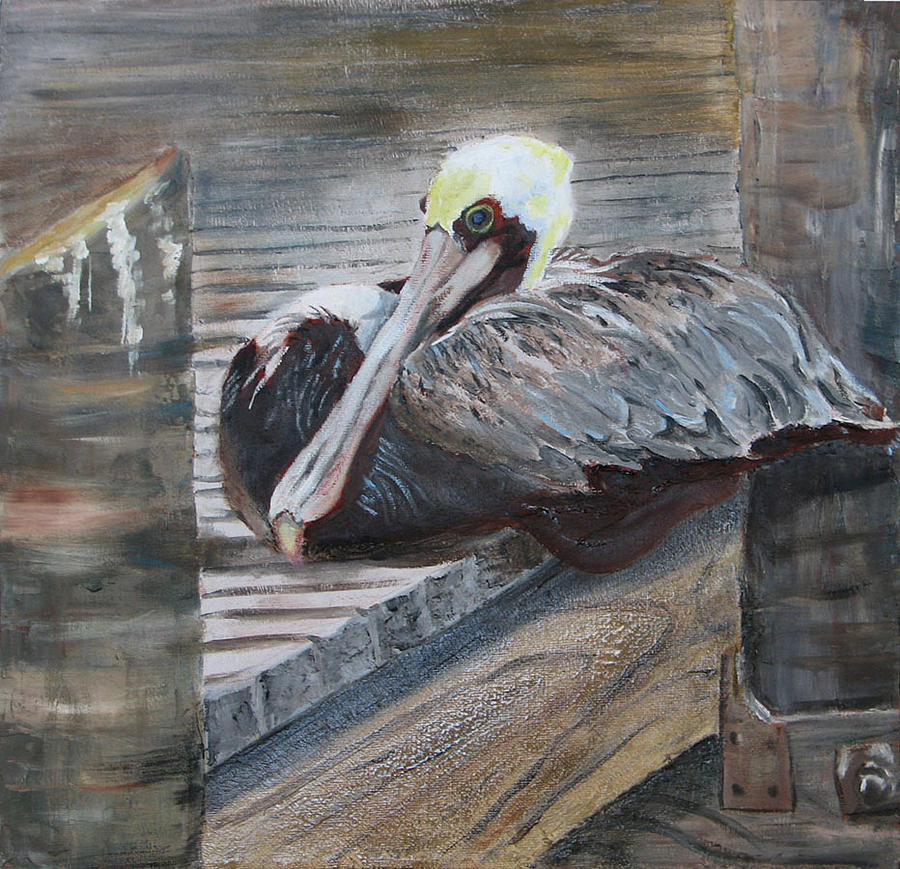 Pelican Painting - Sitting on the Dock of the Bay by Libby  Cagle