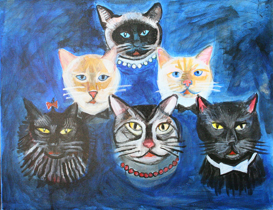 Cheryl Scribner; Everythingarty; Folk; Abstract; Outsider; Cats; Acrylic; Painting; Modern Painting - Six Cats by Cheryl Scribner