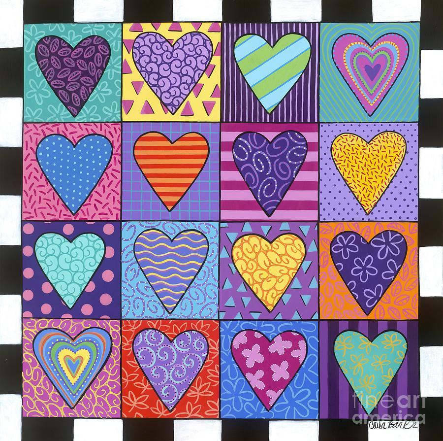 Hearts Painting - Sixteen Hearts by Carla Bank
