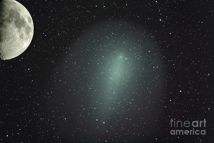 No People Photograph - Size Of Comet Holmes In Comparison by Rolf Geissinger