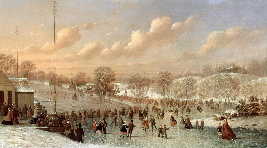 Central Park Painting - Skating Scene by Johann Mongels Culverhouse
