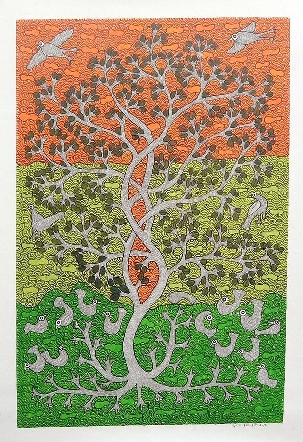 Suresh Dhurve Painting - Skd 306 Tree Of Life by Suresh Kumar Dhurve