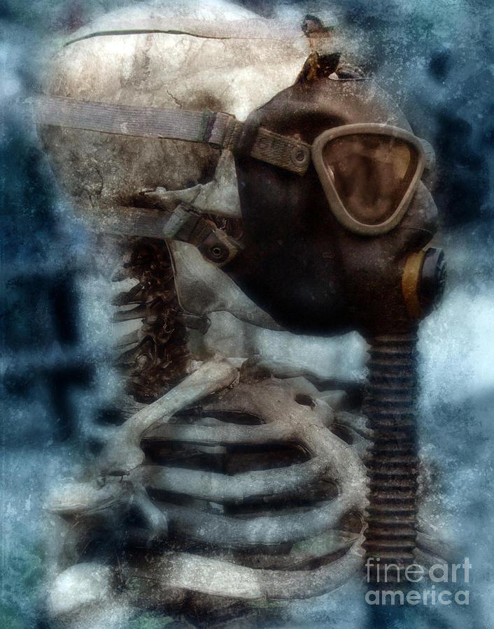 Gas Mask Photograph - Skeleton In Gas Mask by Jill Battaglia
