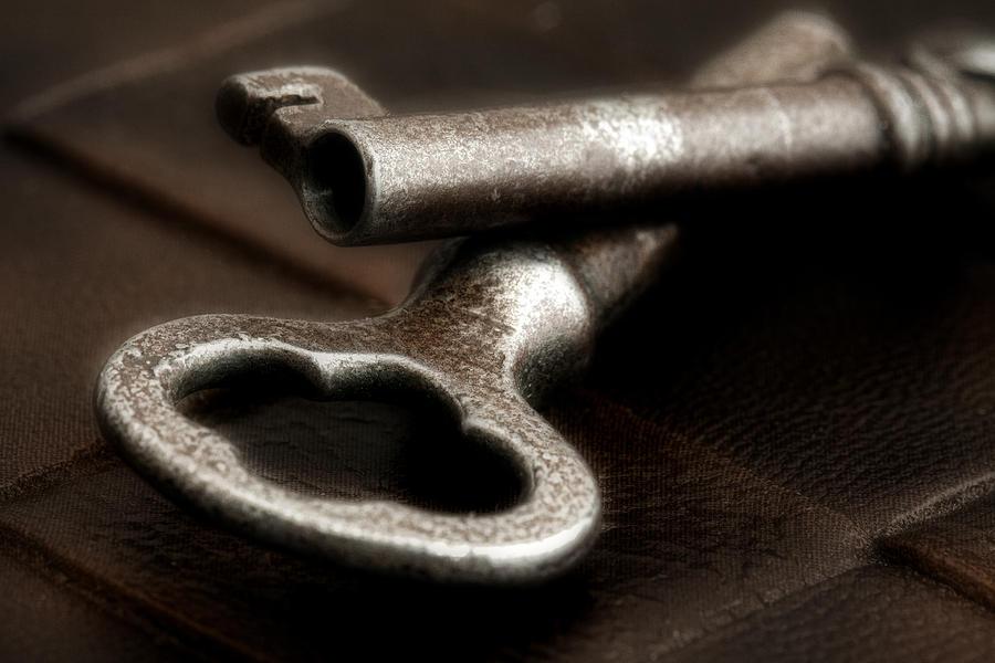 Antique Photograph - Skeleton Keys Still Life by Tom Mc Nemar