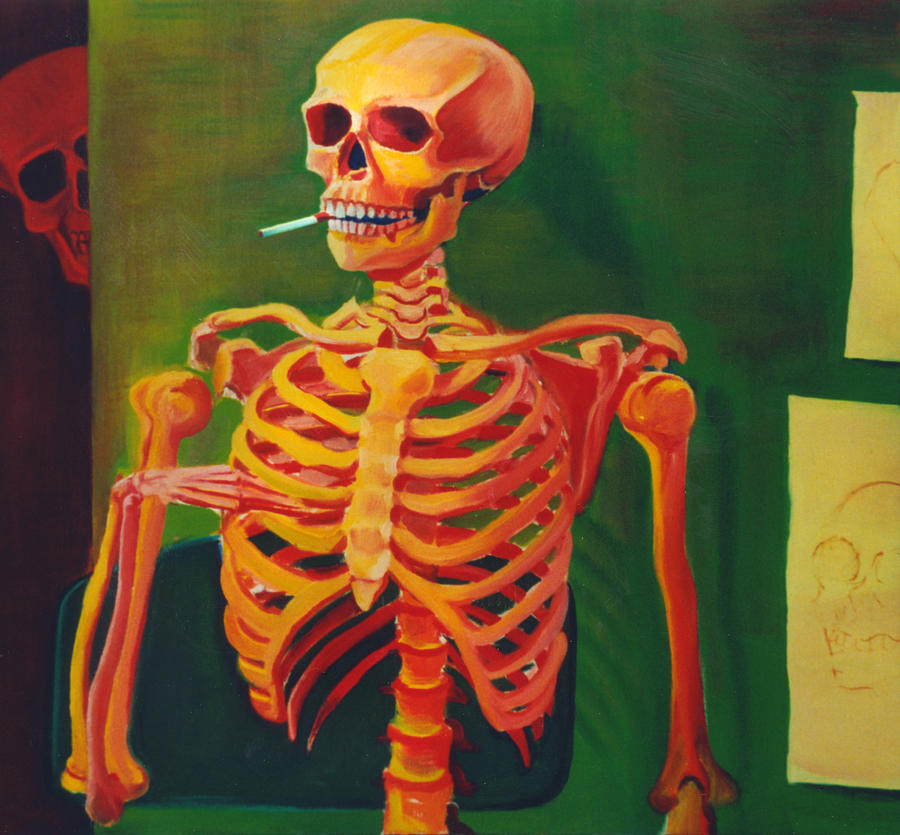 Skeleton Study 1977 Painting By Nancy Griswold