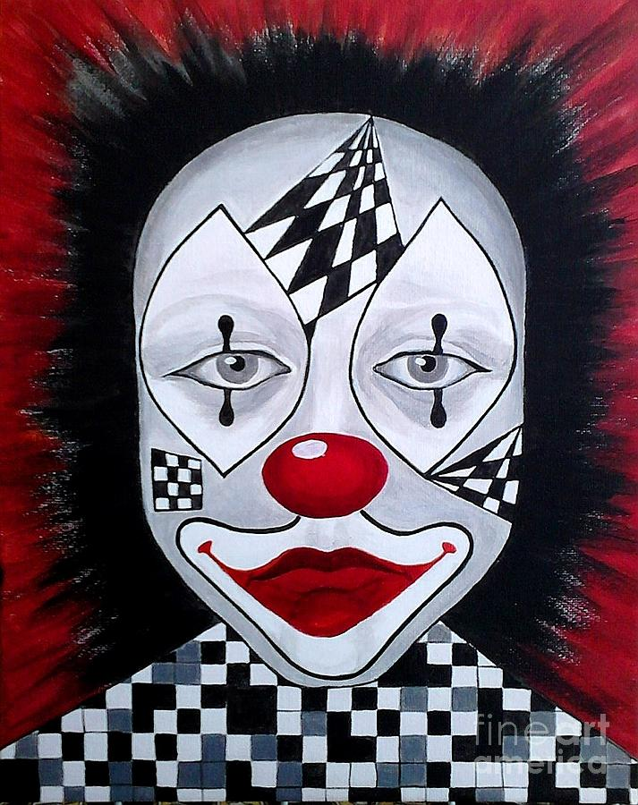 Clown Painting - Skeptical...clown by Melina Mel P