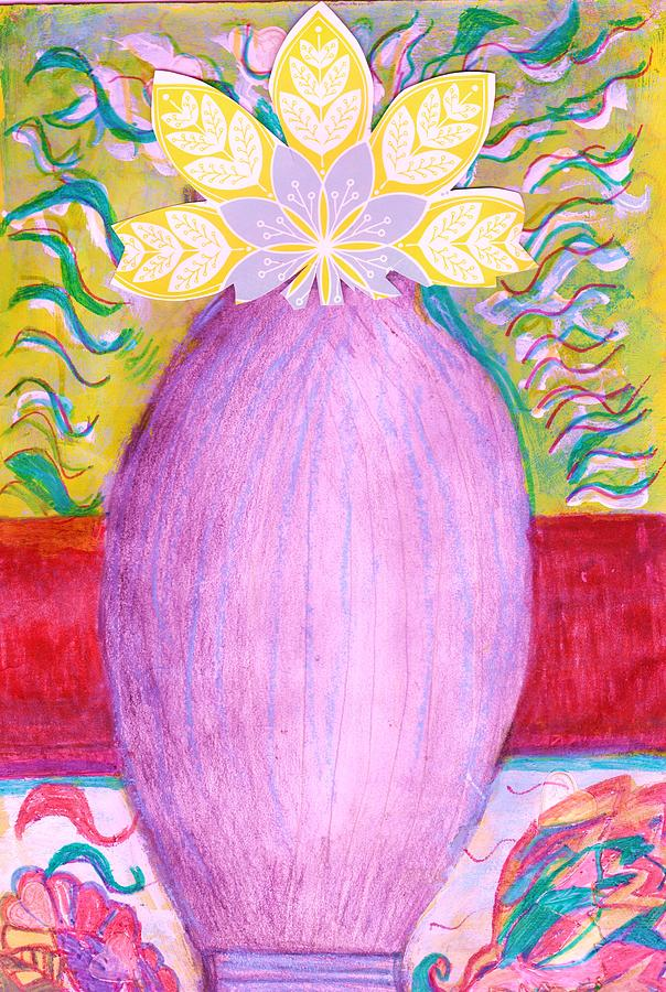 Pencil Sketch Drawing - Sketched Vase With Imagined Flowers by Anne-Elizabeth Whiteway