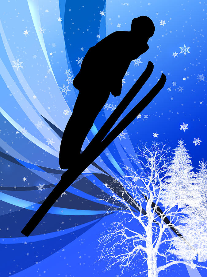Ski Painting - Ski Jumping In The Snow by Elaine Plesser