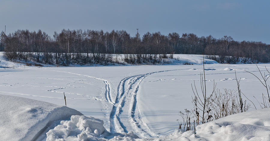 Auto Photograph - Ski track on the river by Michael Goyberg