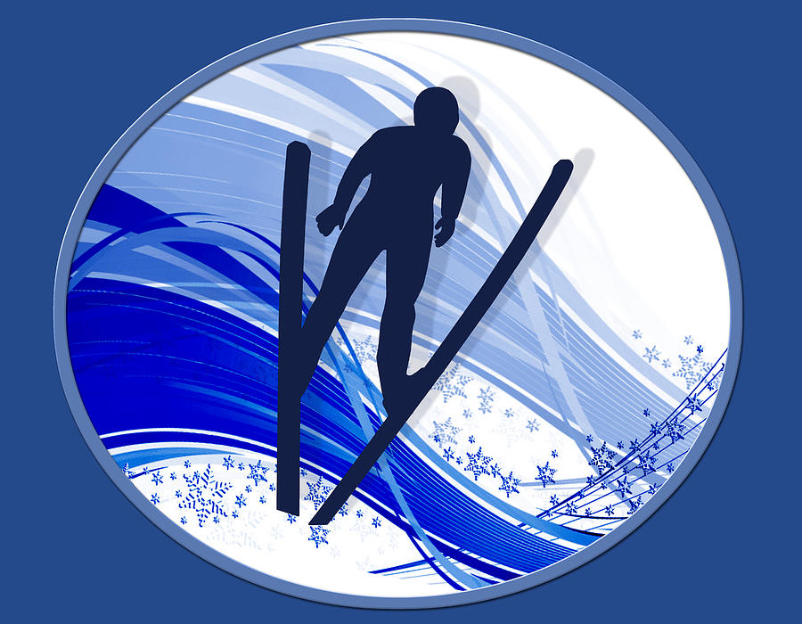 Ski Painting - Skiing And Snowflakes by Elaine Plesser