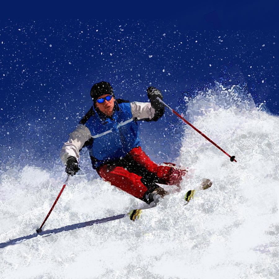 Ski Painting - Skiing Down The Mountain by Elaine Plesser