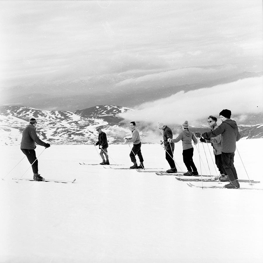 Adult Photograph - Skiing Lesson by John Drysdale