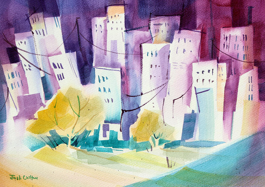 Cityscape Painting - Skip To The City. by Josh Chilton