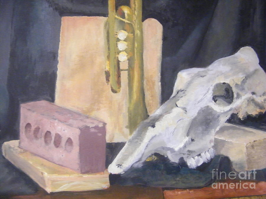 Still Life Painting - Skull And Brick by Delores Swanson