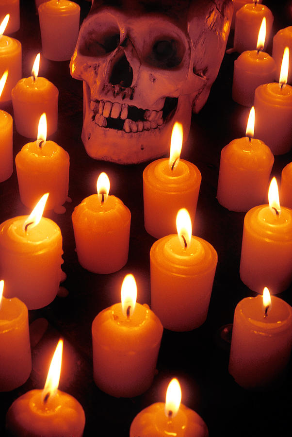 Skull Photograph - Skull And Candles by Garry Gay