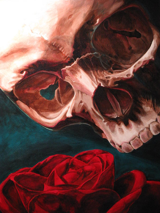 Skull and Rose Painting by Melissa Johnson