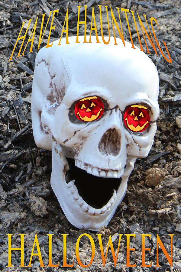 Halloween Artwork Photograph - Skull Halloween Card by Debra     Vatalaro