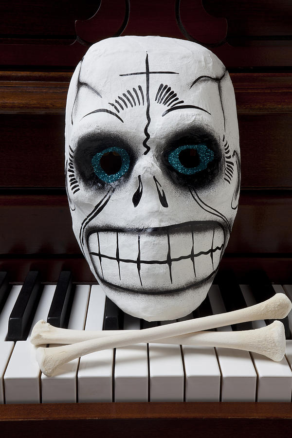 Skull Photograph - Skull Mask With Bones by Garry Gay