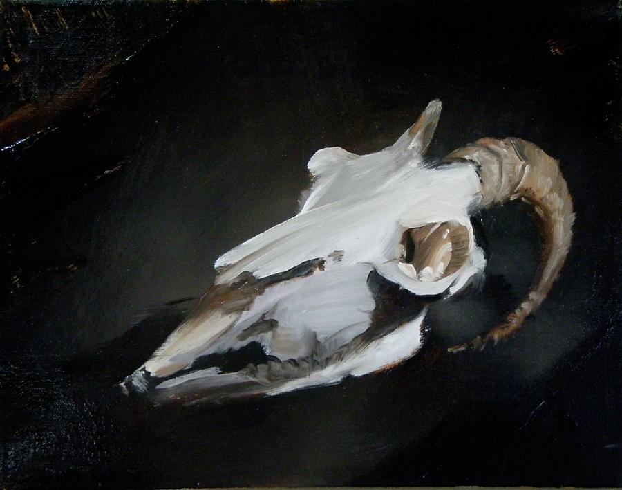 Horned Painting - Skull Of Goat by Roger Clark