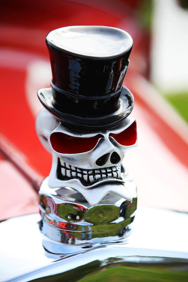 Skull Top Hat Hood Ornament Photograph - Skull With Top Hat Hood Ornament by Garry Gay