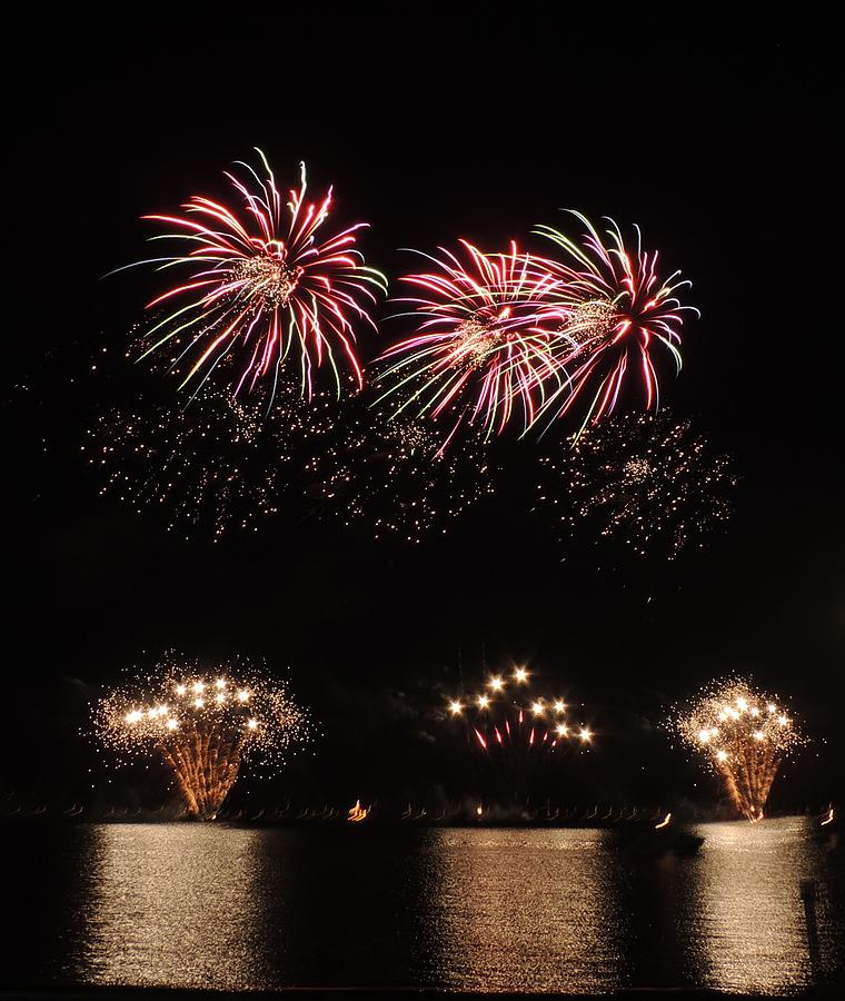 Fireworks Photograph - Sky Color by Red Cross