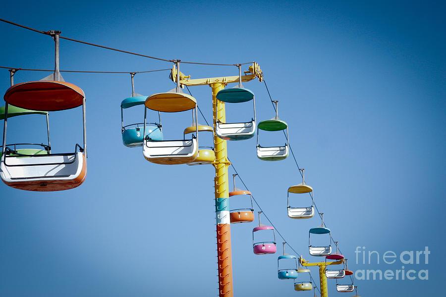 Boardwalk Seats Sky Air Cable Amusement  Digital Art - Sky Seats by David Taylor