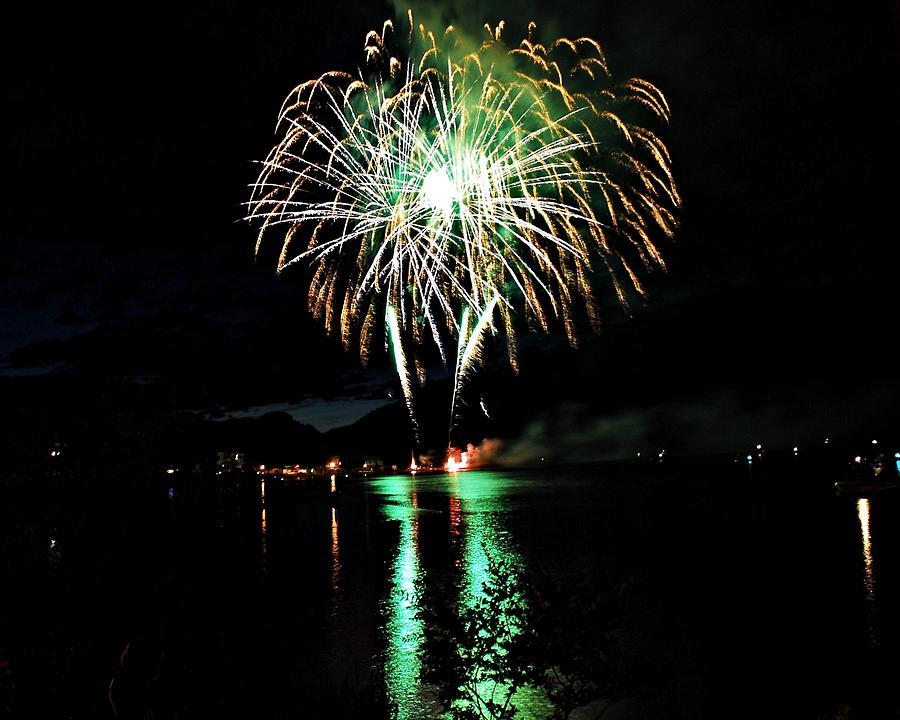 Fireworks Digital Art - Skylights Over Osoyoos by Don Mann