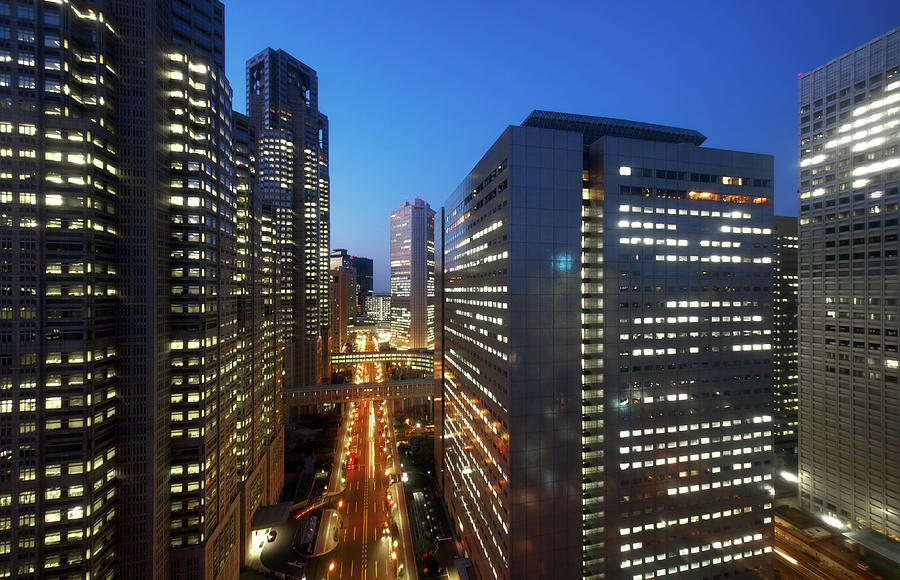 Horizontal Photograph - Skyscrapers In Commercial District Of Tokyo by Vladimir Zakharov