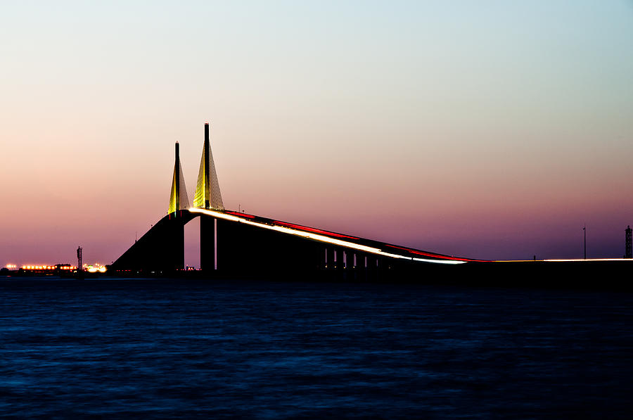 Tampa Photograph - Skyway Bridge Tampa Bay by Herman Boodoo