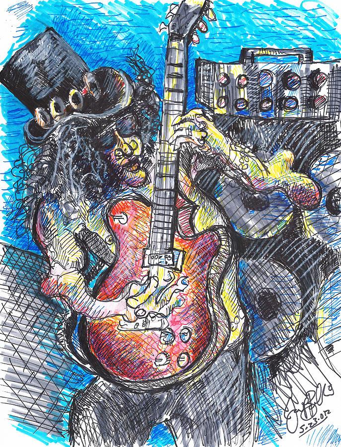 Guns And Roses Drawing - Slash Distortion  by Jon Baldwin  Art