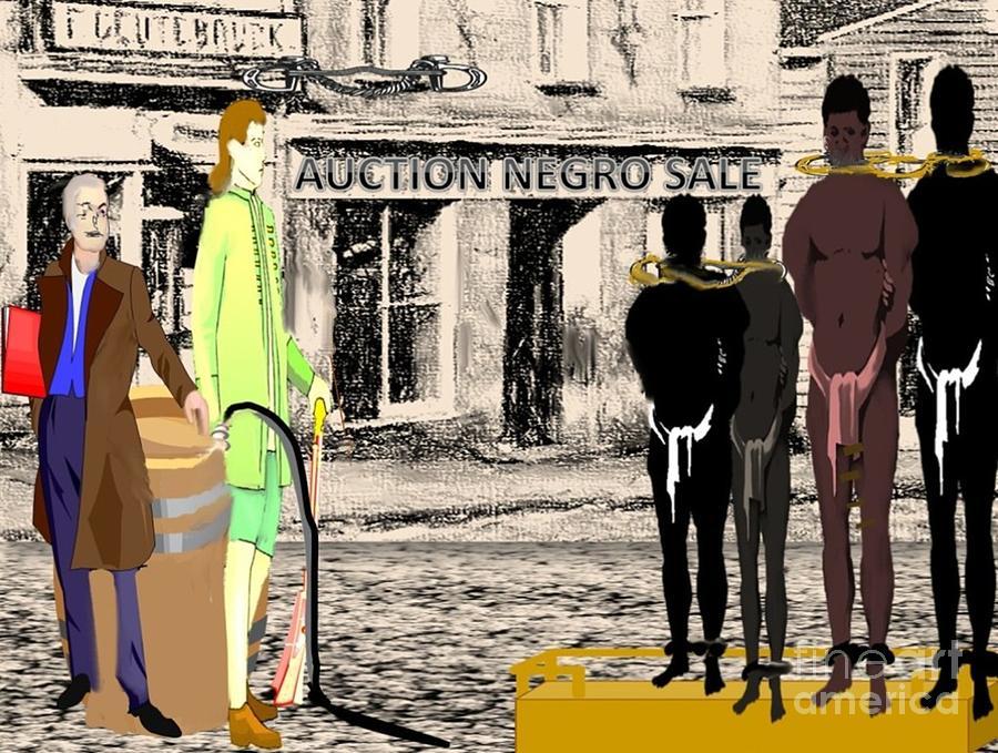 Black History Digital Art - Slave Auction by Belinda Threeths