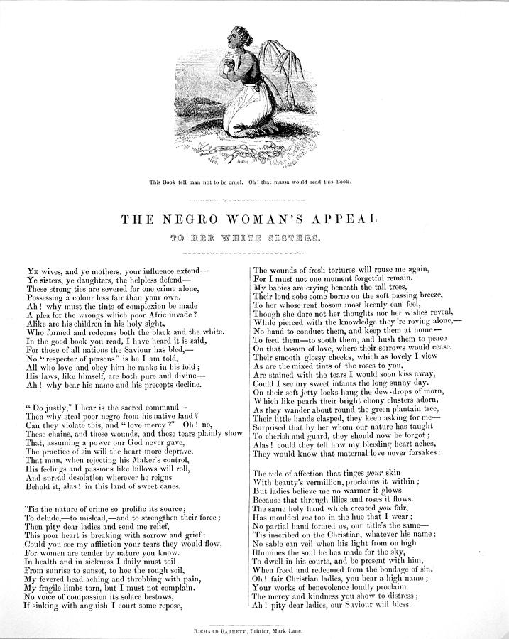 1850s Photograph - Slavery. An Abolitionist Poem Entitled by Everett