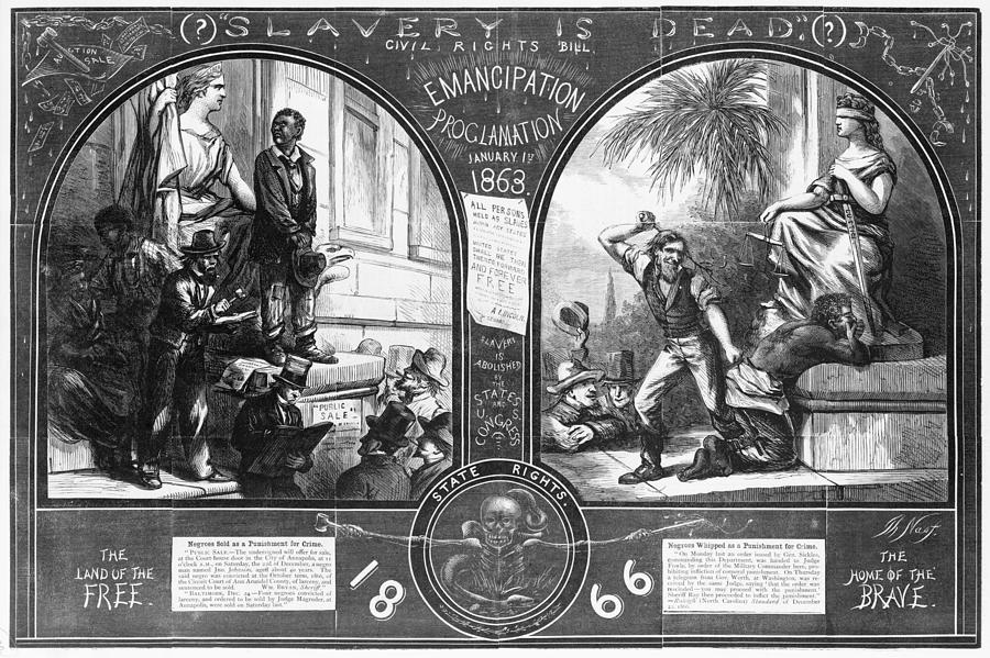 1860s Photograph - Slavery, Two Illustrations Showing by Everett