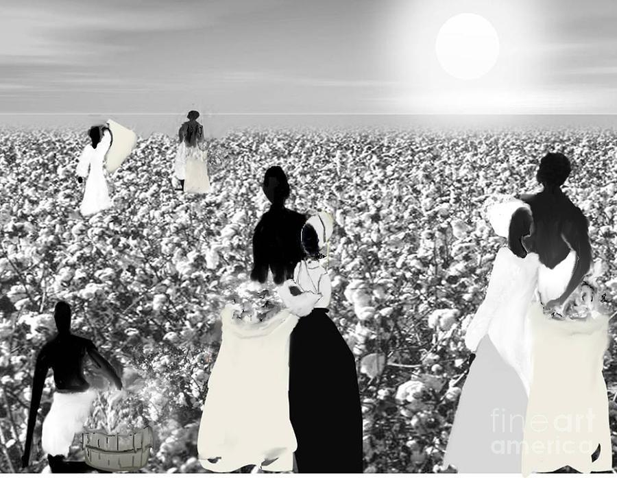 Black History Digital Art - Slaves Picking Cotton by Belinda Threeths