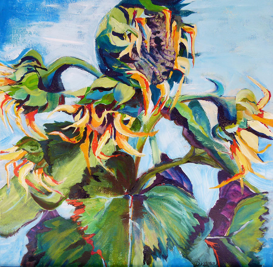 Sunflowers Painting - Sleeping Sunflower by Suzanne Willis
