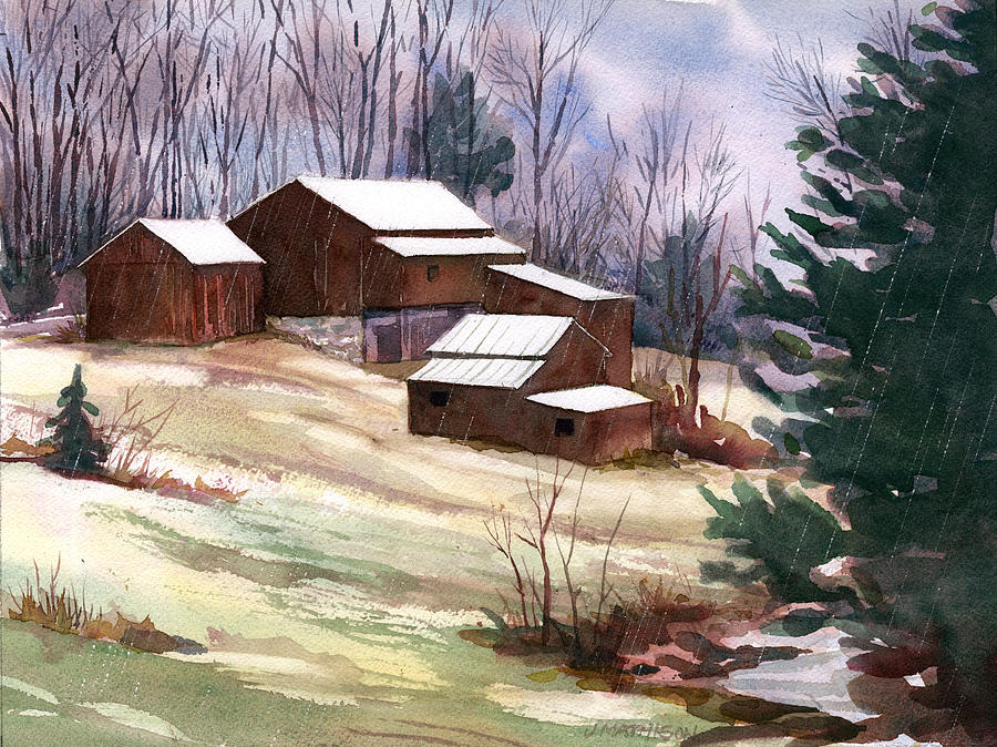 Late Winter Painting - Sleet On Sheds by Jeff Mathison
