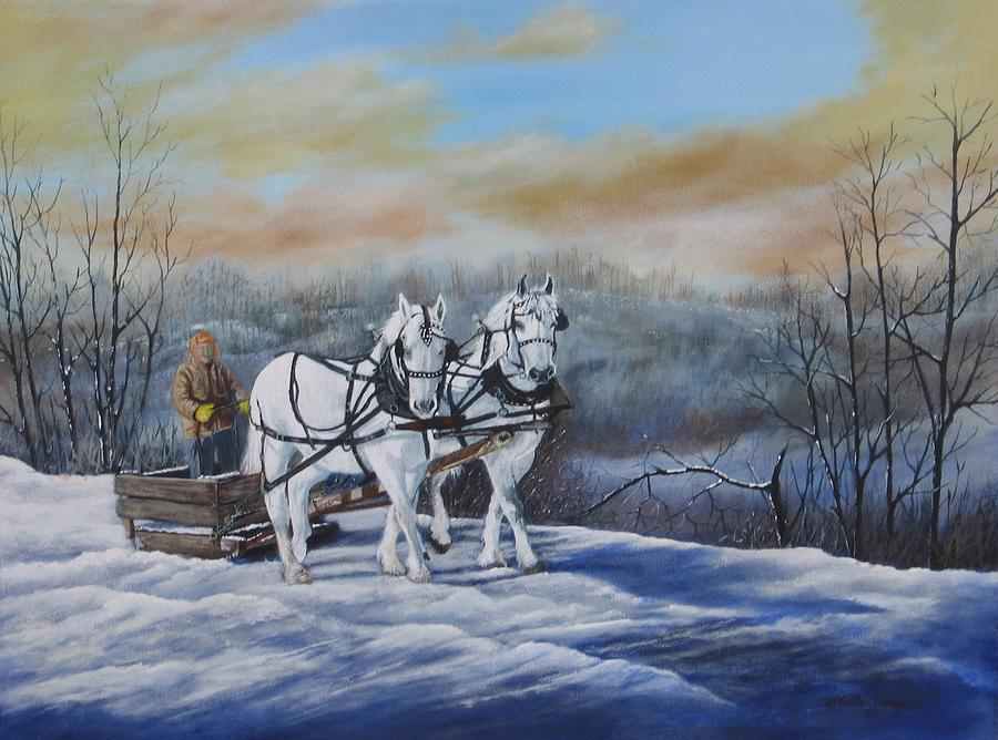 Horse Painting - Sleigh Ride by Sheila Banga