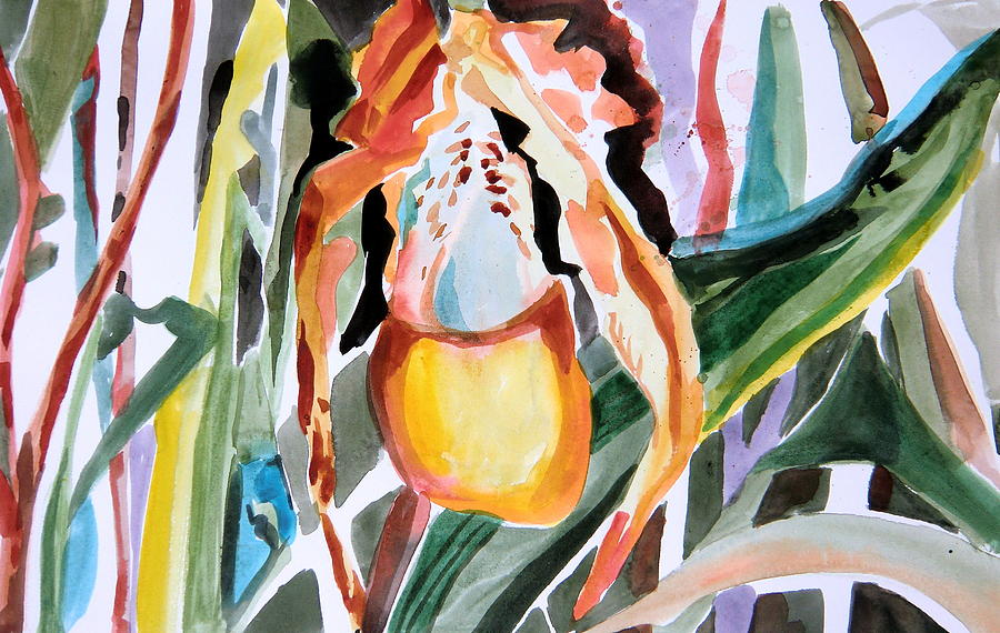 Orchids Painting - Slipper Foot Tropics by Mindy Newman