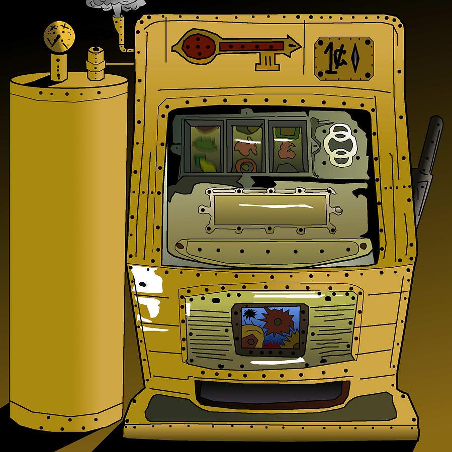 Slots Drawing - Slots Punk - The Steam Punk Slots Machine by Casino Artist
