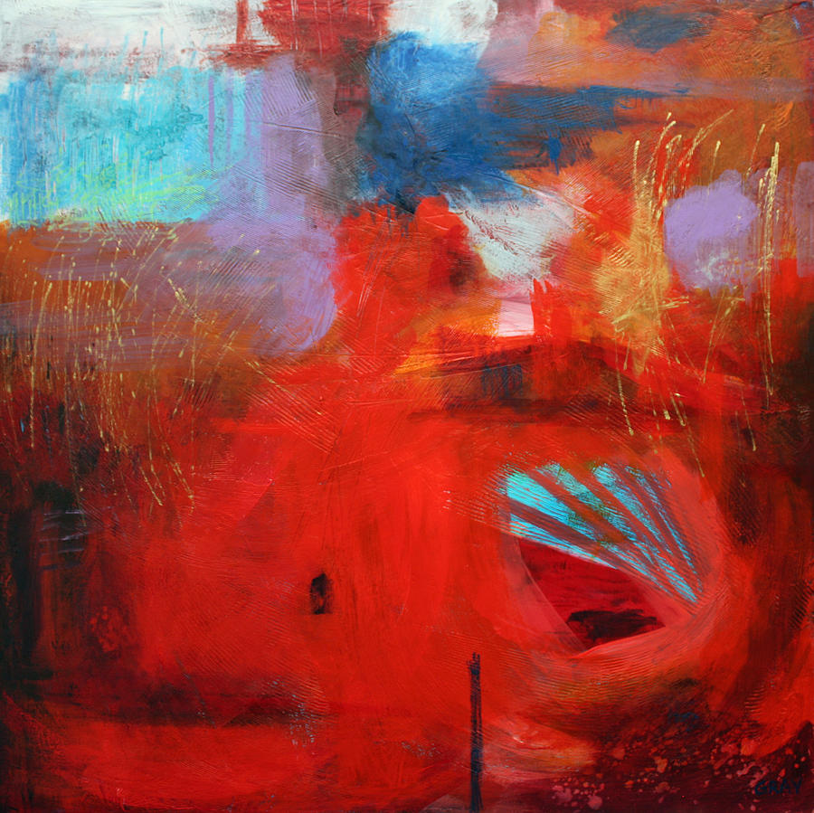 Abstract Painting - Slow Gold But Everlasting by Gray Jacobik