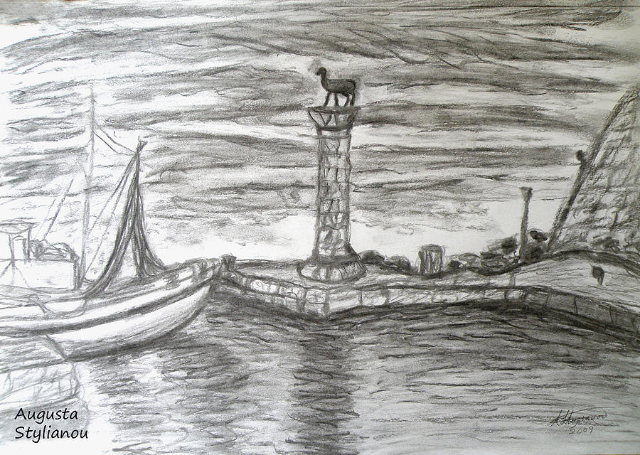 Rhode Island Drawing - Small Boats At Rhodes Port by Augusta Stylianou