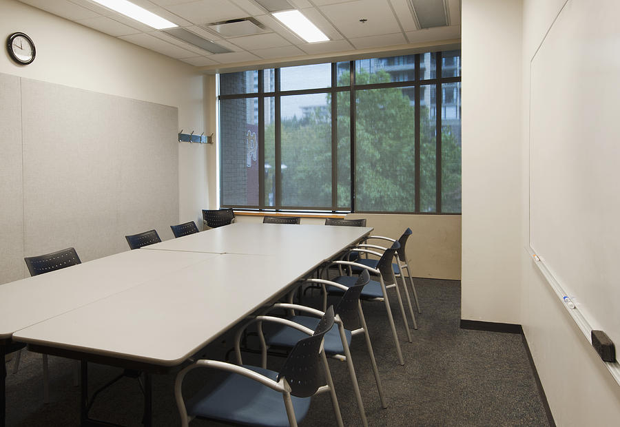 Mood Photograph - Small Empty Boardroom With A Long by Marlene Ford