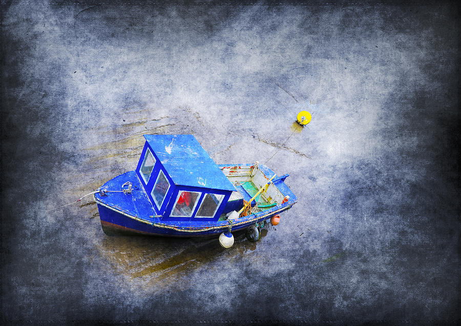 Anchored Photograph - Small Fisherman Boat by Svetlana Sewell