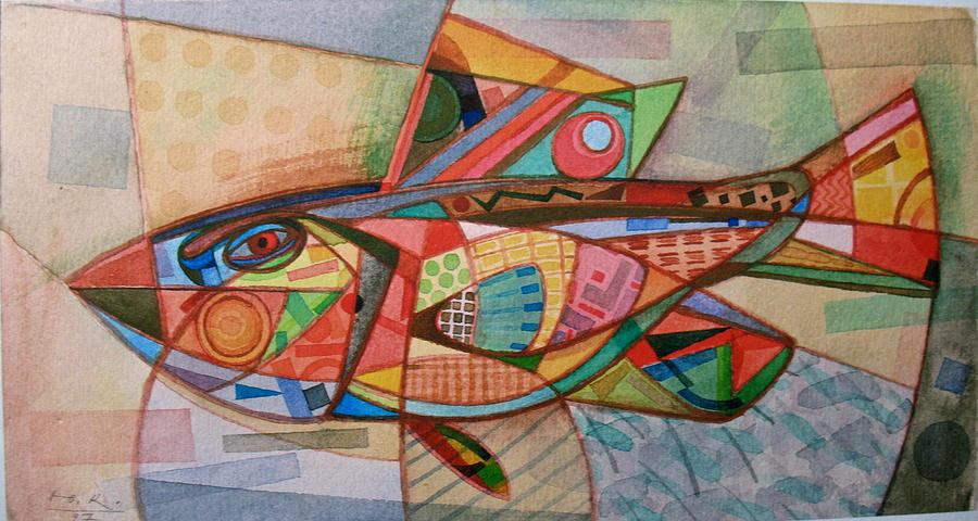 Yuri Yudaev Painting - Small Motley Fish. 1997 by Yuri Yudaev-Racei