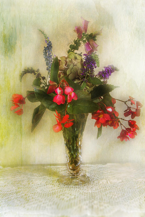 Floral Photograph - Small Vase Of Flowers by John Rivera